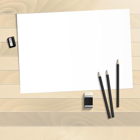 職場美術ボード、紙、鉛筆、消しゴム、鉛筆削り現実的なプラスチックに木製の背景 写真素材 - 81633241
