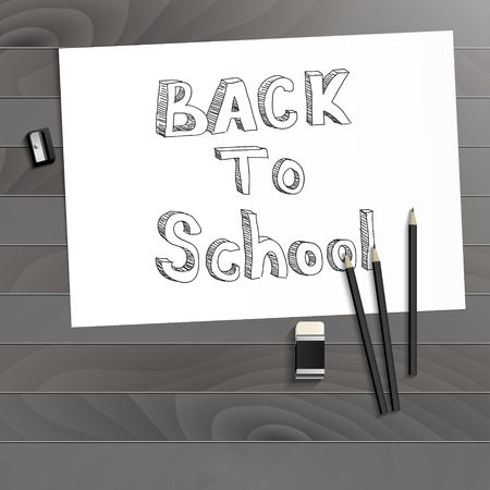 Workplace art board, paper, pencils, eraser and sharpener realistic plastic on a wooden backgroundBack to School