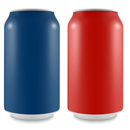 Aluminum can of the empty layout for your design. Bank of carbonated water. Tasty drink, can lemonade or beer. Vector Illustration Illustration