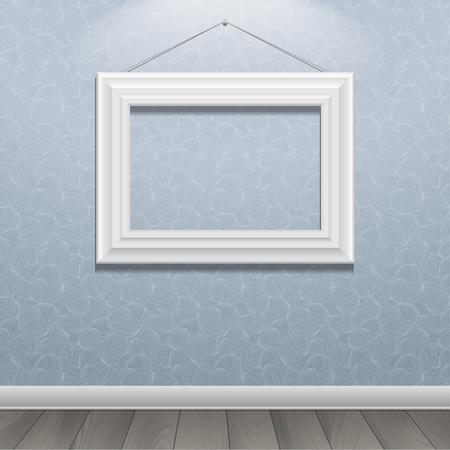 White classic frame on the wall. Vector Illustration Ilustração