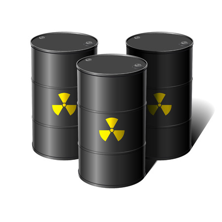 peril: Barrel with sign Radiation. Vector illustration