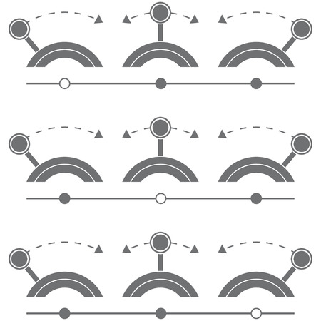 Switch button set, silhouette. Vector Illustration