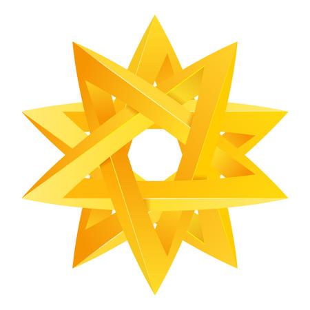 Impossible étoile 3D pour votre projet. Icône ou logo. Illustration Vecteur Logo