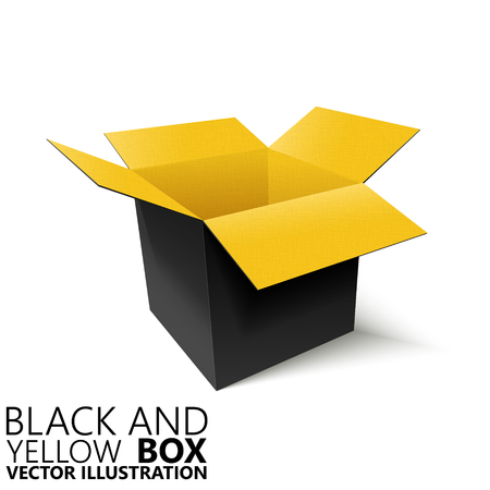 boiler: Black and yellow open box 3D vector illustration, design element Illustration