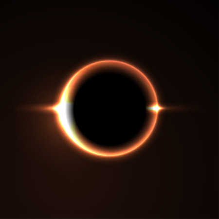prominence: Black hole. Solar eclipse. Light. Vector Illustration Illustration