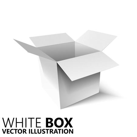 satined: White open box 3D vector illustration, design element