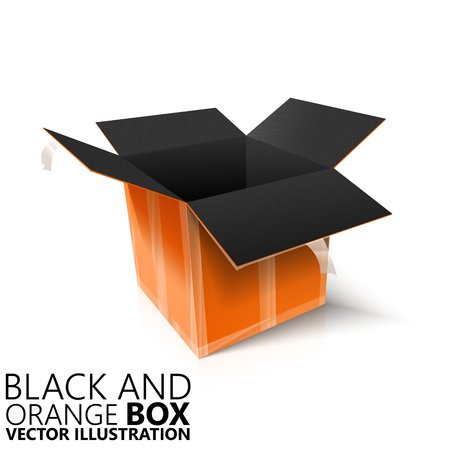 Black and orange open box 3D vector illustration, design element