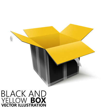Black and yellow open box 3D vector illustration, design element Illustration
