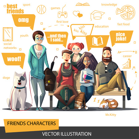Friends characters set. A company of young people sitting on a bench. A group of people. Friends flat design. Five friends characters for Your business project. People characters Vector Illustration