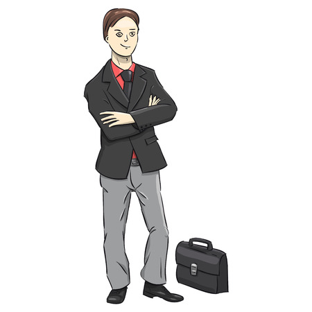 Businessman character on a white background. A successful man in suit. Vector Illustration