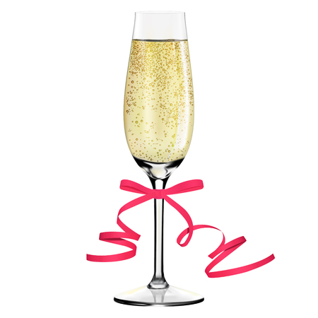 Glass of champagne with ribbon. Merry Christmas and Happy New Year concept. Vector Illustration
