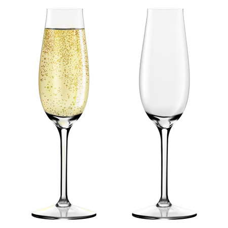 Two glasses of champagne. Merry Christmas and Happy New Year concept. Vector Illustration Archivio Fotografico - 127593979