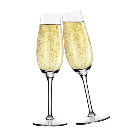 Two glasses of champagne. Merry Christmas and Happy New Year concept. Vector Illustration Ilustração
