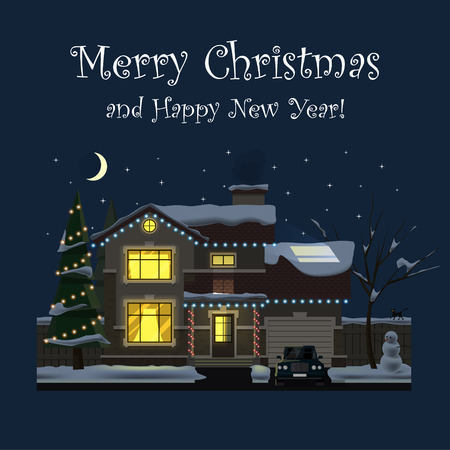 Merry Christmas and Happy New Year. Family house at night. Winter. Hearth and home. Flat design. For your project. Vector Illustration