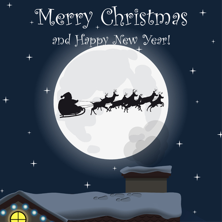 Merry Christmas and Happy New Year. Family house at night. Winter. Santa Claus and reindeer. Flat design. For your project. Vector Illustration