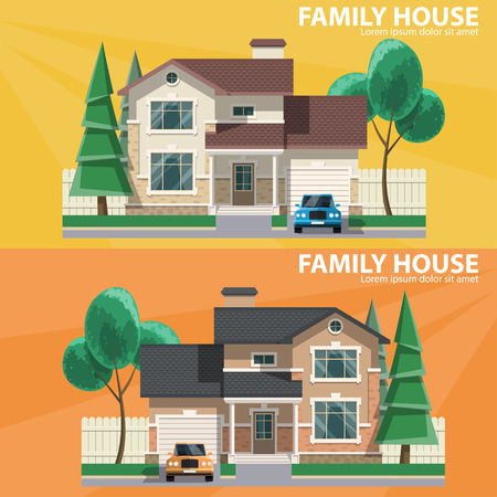 Family house. 2 houses, car and trees. Hearth and home. Flat design. For your project. Vector Illustration