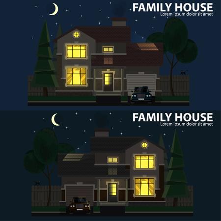 Maison familiale la nuit. 2 maisons, voiture et arbres. Foyer et maison. Conception plate. Pour votre projet. Illustration vectorielle