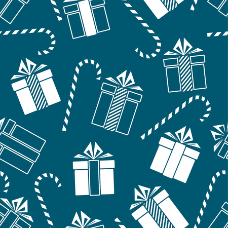 Christmas gifts and candy cane seamless pattern. New Year concept. Vector Illustration Archivio Fotografico - 127593989