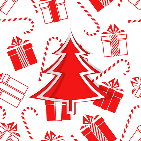 Christmas tree and gifts. New Year. Vector Illustration Archivio Fotografico - 127593992