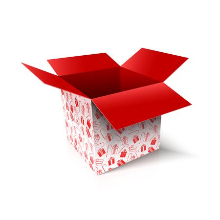 Christmas open box. New Year gift concept. Vector Illustration Archivio Fotografico - 114085437