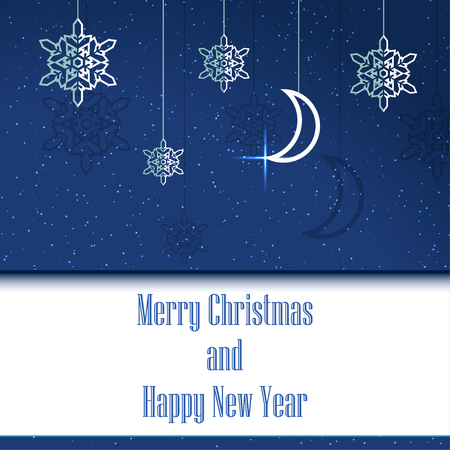 Merry Christmas and Happy New Year postcard. Vector Illustration