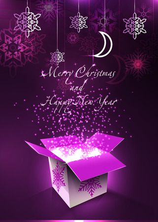 Merry Christmas and Happy New Year postcard. Magic box. Vector Illustration