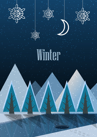 Winter. New Year postcard. Vector Illustration