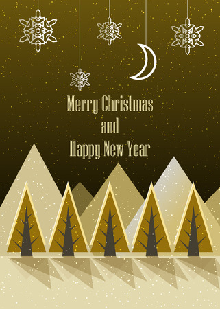 Merry Christmas and Happy New Year postcard. Winter. Vector Illustration