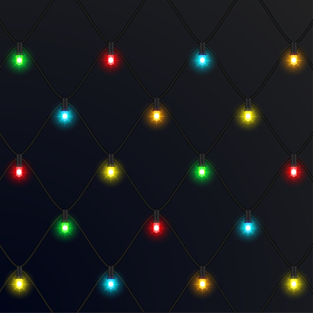Christmas neon garlands. New Year. Vector Illustration