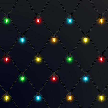 Ghirlande natalizie al neon. Nuovo anno. illustrazione vettoriale Vettoriali