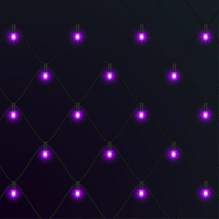 Christmas neon garlands. New Year. Vector Illustration