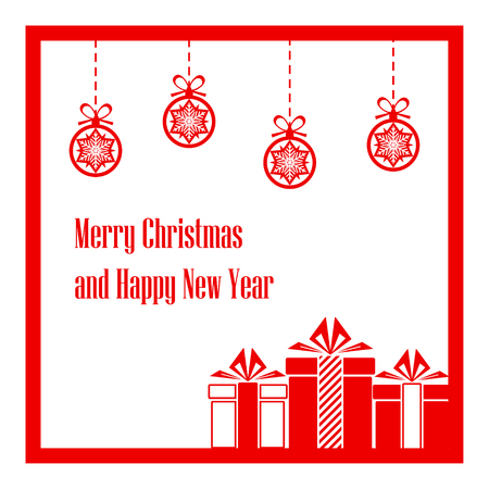 Merry Christmas and Happy New Year. Background. Vector Illustration Archivio Fotografico - 114085527