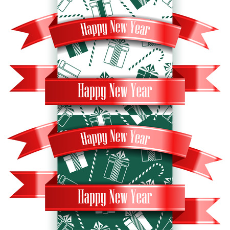 Happy New Year ribbon set and seamless pattern. Christmas concept. Vector Illustration Archivio Fotografico - 127594016