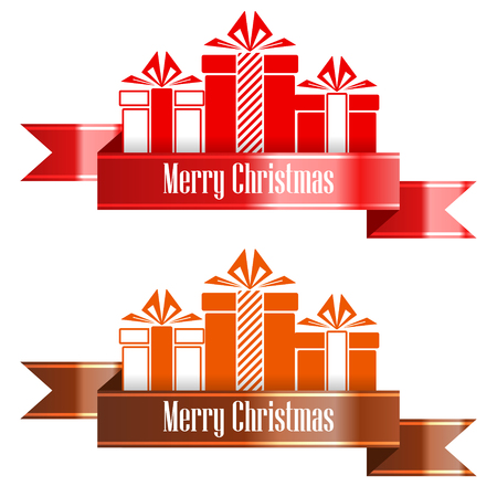 Merry Christmas banner ribbon. New Year concept. Vector Illustration Archivio Fotografico - 112281524