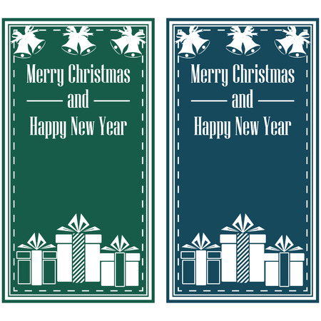 Merry Christmas and Happy New Year postcard. Vector Illustration Vettoriali
