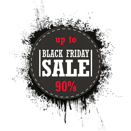 Black Friday Sale up to 90% isolated on a white background. Grunge. Vector Illustration