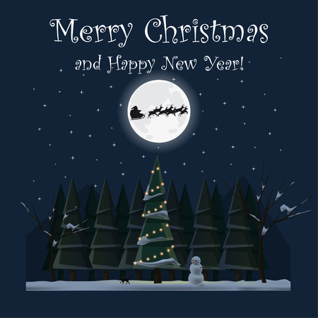 Merry Christmas and Happy New Year. Christmas tree at night. Winter. Santa Claus and reindeer. Flat design. For your project. Vector Illustration