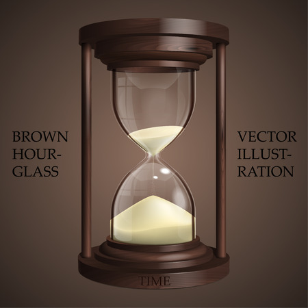 Brown hourglass on brown background. Future concept. Realistic 3D hourglass for Your business project. Sandglass Vector Illustration