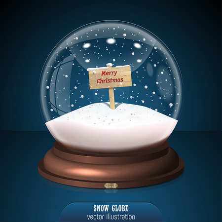 Snow globe on blue background. Merry Christmas and Happy New Year 2018. Realistic snow globe for Your business project. Vector Illustration