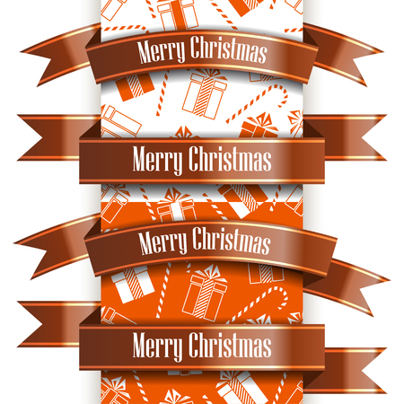 Merry Christmas ribbon set and seamless pattern. New Year concept. Vector Illustration Archivio Fotografico - 127594036