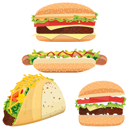 Hot Dog, Hamburgers and Tacos