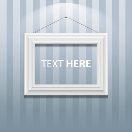 White classis frame on the wall. Vector Illustration