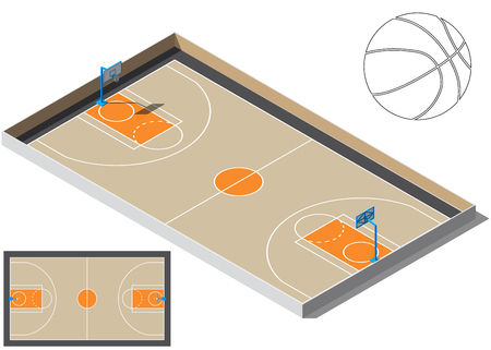 Basketball court isometry. Basketball ball silhouette. For your business project. Vector Illustration