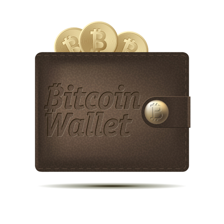 Bitcoin wallet with coins isolated on white background. Design element for Your business project. Brown and yellow bitcoin. Vector Illustration