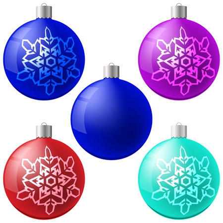 Christmas ball set. New Year concept. Vector Illustration Ilustração