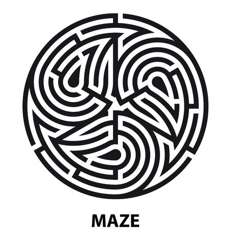 Triskelion symbol tattoo maze. Geometric circular labyrinth. ornament mandala print. Vector Illustration Ilustrace
