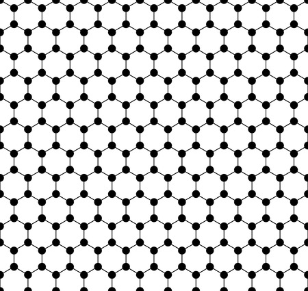 Graphene seamless pattern. Carbon lattice. Black graphene on white background. Abstract background. Graphene structure for Your business project. Vector Illustration Illusztráció