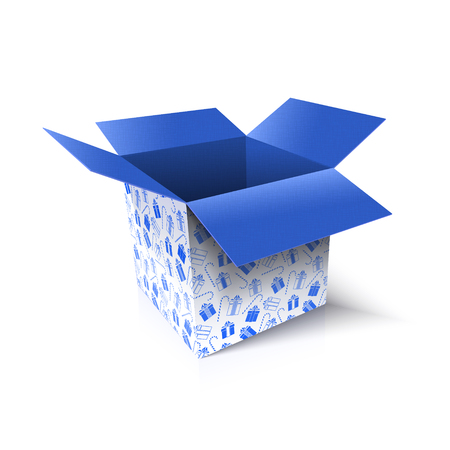 Christmas open box. New Year gift concept. Vector Illustration Archivio Fotografico - 114085584