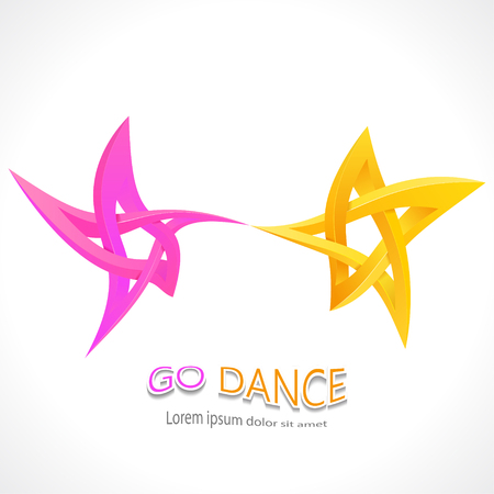 Go dance. Dancing impossible star 3D for Your project. Icon or logo. Vector Illustrstion