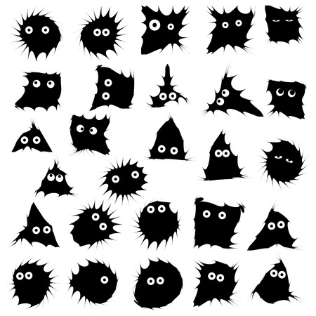 Black funny monsters ink blots isolated set on white background. Emotions Stickers concept. Vector Illustration Reklamní fotografie - 127292712